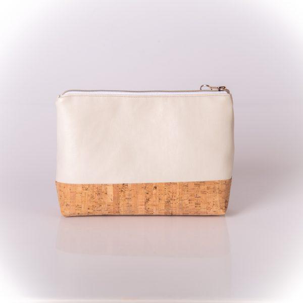 Geräumige, stylische und elegante Kosmetiktasche aus einer Mischung aus Kunstleder und Korkleder Hinteransicht