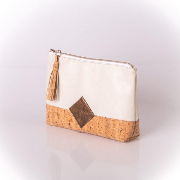 Geräumige, stylische und elegante Kosmetiktasche aus einer Mischung aus Kunstleder und Korkleder Seitenansicht