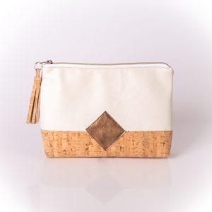 Geräumige, stylische und elegante Kosmetiktasche aus einer Mischung aus Kunstleder und Korkleder Vorderansicht
