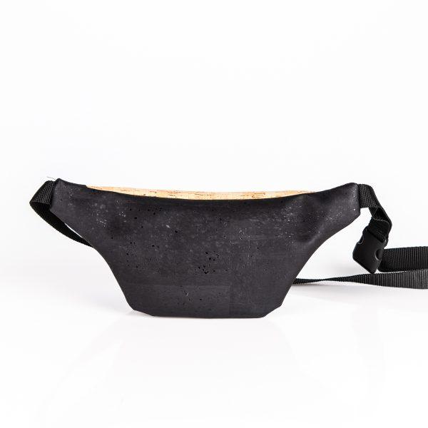 Praktische handgefertigte Bauchtasche aus Korkleder in schwarz/natur Hinteransicht